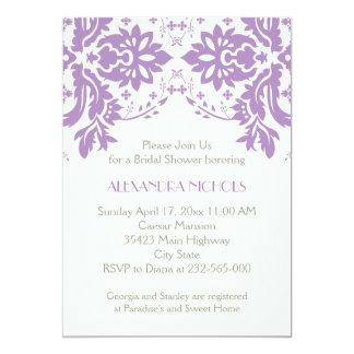 Damask lavender, grey, ivory wedding bridal shower personalized invite