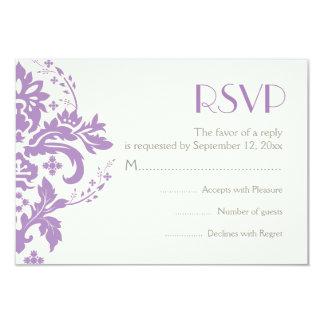 Damask lavender grey ivory wedding RSVP reply card Invitation