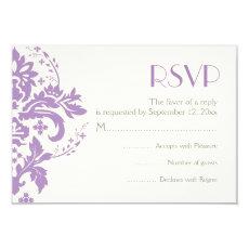 Damask lavender grey ivory wedding RSVP reply card 3.5