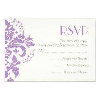 "Damask lavender grey ivory wedding RSVP reply card 3.5"" X 5"" Invitation Card"