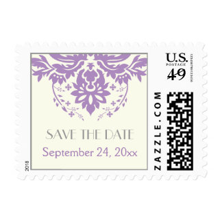 Damask lavender, grey, ivory wedding Save the Date Postage