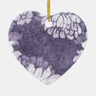damask - lavender mist heart ornament