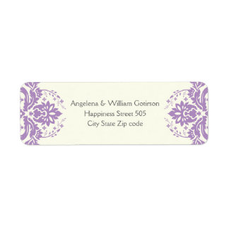 Damask lavender purple, ivory wedding label