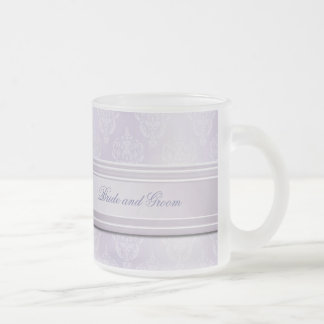 Damask Lavender Shine Frosted Glass Coffee Mug