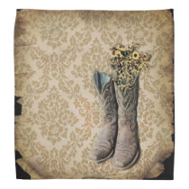 Damask lavender Western country cowboy boots Bandana