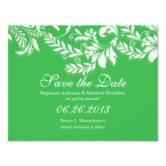 Damask Leaf Save the Date Wedding Announcement