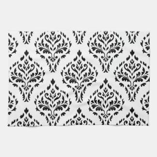 Damask Leafy Baroque Pattern B&W II Kitchen Towels