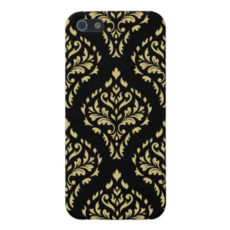 Damask Leafy Baroque Pattern Black & Gold iPhone SE/5/5s Case