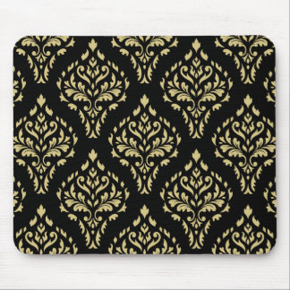 Damask Leafy Baroque Pattern Black & Gold Mouse Pad
