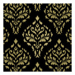 Damask Leafy Baroque Pattern Black & Golds Posters