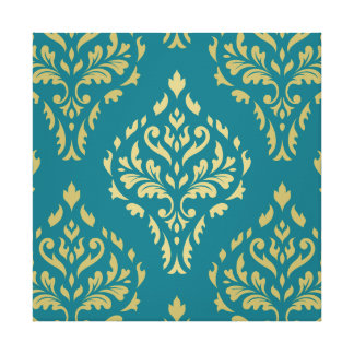 Damask Leafy Baroque Pattern Teal & Golds Canvas Print
