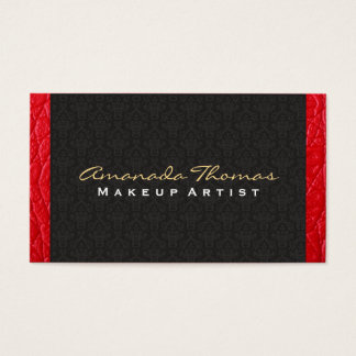 Damask / Leather Trim | Chic, Luxe Business Card