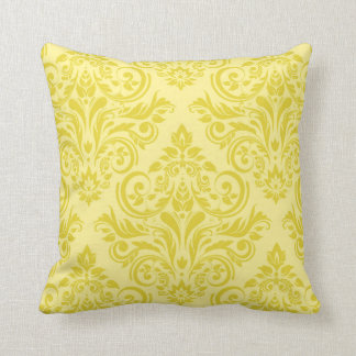 Damask - lemon yellow cream pillow