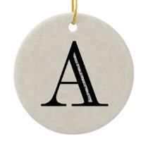 Damask Letter A - Black Ceramic Ornament