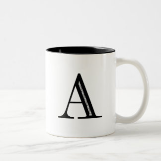Damask Letter A - Black Mug