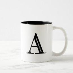 Damask Letter A - Black Two-Tone Coffee Mug
