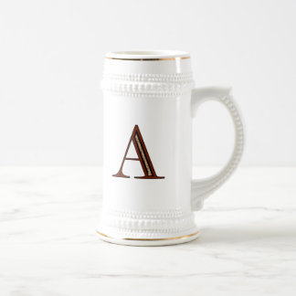Damask Letter A - Red Beer Stein
