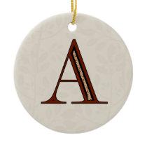 Damask Letter A - Red Ceramic Ornament