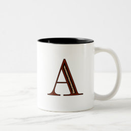 Damask Letter A - Red Two-Tone Coffee Mug