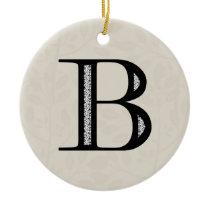 Damask Letter B - Black Ceramic Ornament