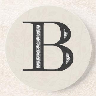 Damask Letter B - Black Coaster