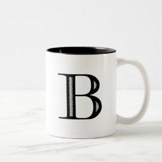 Damask Letter B - Black Coffee Mug