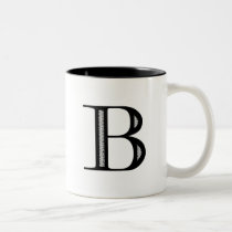 Damask Letter B - Black Two-Tone Coffee Mug