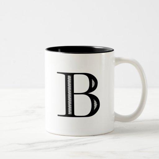 Damask Letter B - Black Two-Tone Coffee Mug