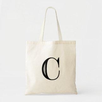 Damask Letter C - Black Budget Tote Bag