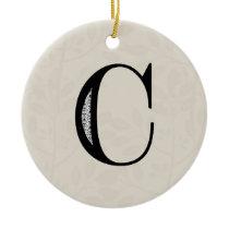Damask Letter C - Black Ceramic Ornament