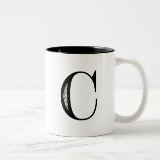 Damask Letter C - Black Two-Tone Coffee Mug