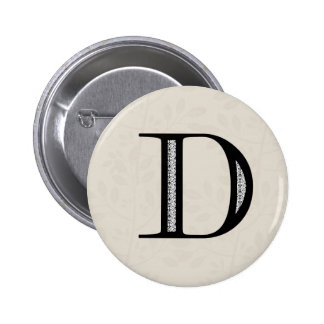 Damask Letter D - Black 2 Inch Round Button