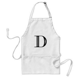 Damask Letter D - Black Adult Apron