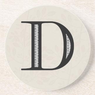 Damask Letter D - Black Beverage Coasters