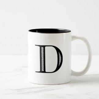 Damask Letter D - Black Two-Tone Coffee Mug
