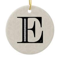 Damask Letter E - Black Ceramic Ornament