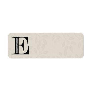 Damask Letter E - Black Return Address Label