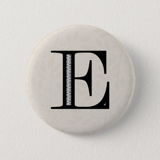 Damask Letter E - Black Pinback Button