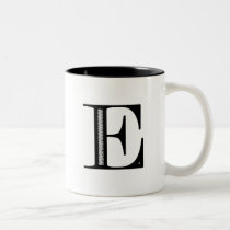 Damask Letter E - Black Two-Tone Coffee Mug
