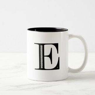 Damask Letter E - Black Two-Tone Coffee Mug
