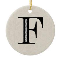 Damask Letter F - Black Ceramic Ornament