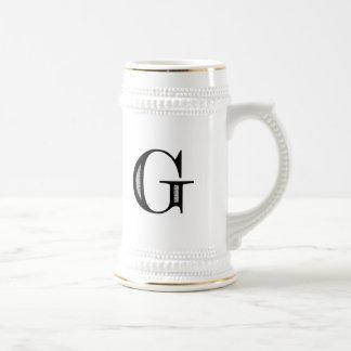 Damask Letter G - Black Beer Stein