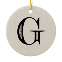 Damask Letter G - Black Ceramic Ornament