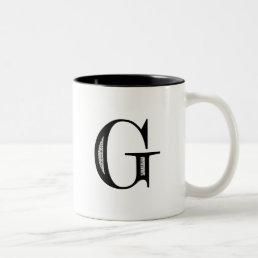 Damask Letter G - Black Two-Tone Coffee Mug