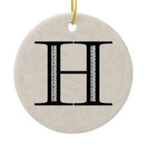 Damask Letter H - Black Ceramic Ornament