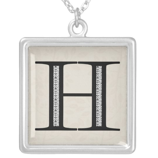 Damask Letter H - Black Silver Plated Necklace