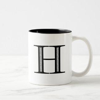 Damask Letter H - Black Two-Tone Coffee Mug