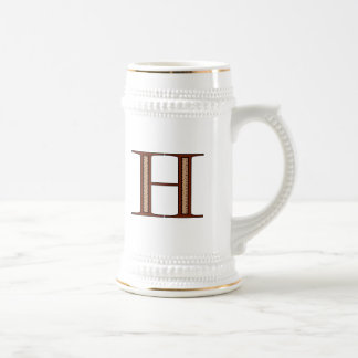 Damask Letter H - Red Beer Stein