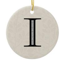Damask Letter I - Black Ceramic Ornament