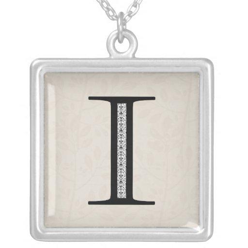 Damask Letter I - Black Pendants